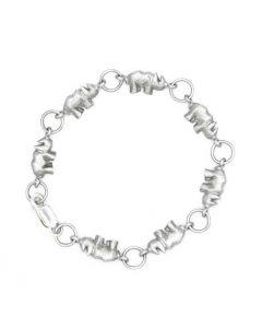 Sterling Silber Armband mit Nashorn Motiv - 17cm