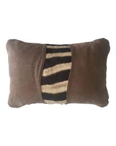 Kissenbezug aus Naturleder mit Steppenzebrafell, braun - 60cm x 40cm