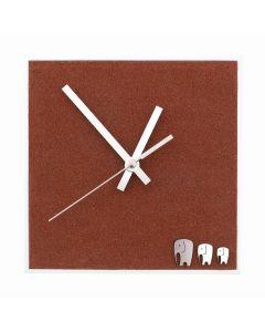 Uhr Dünensand mit Elefanten, 25cm x 25cm