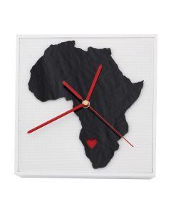 Uhr Afrika weiss, 16,5cm x 16,5cm