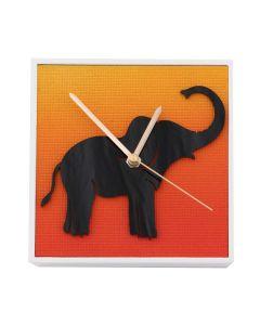 Uhr Elefant Schwarz, 10cm x 10cm