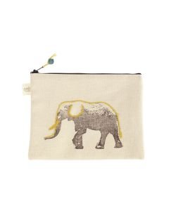 Anin Namibia kleine Tasche aus Baumwolle, Elefant Gelb, 15 x 22 cm