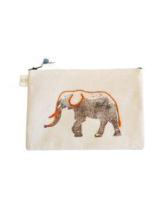 Anin Namibia kleine Tasche aus Baumwolle, Elefant Orange, 15 x 22 cm