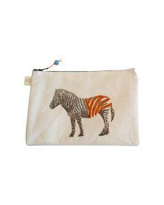 Anin Namibia kleine Tasche aus Baumwolle, Zebra orange, 15 x 22 cm