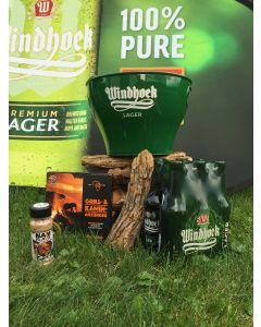 Grill/Braai Paket mit Holz und 2 gratis Windhoek Lager Pilsgläser