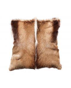 Kissenbezug aus Naturleder mit Springbokfell - 40cm x 40cm